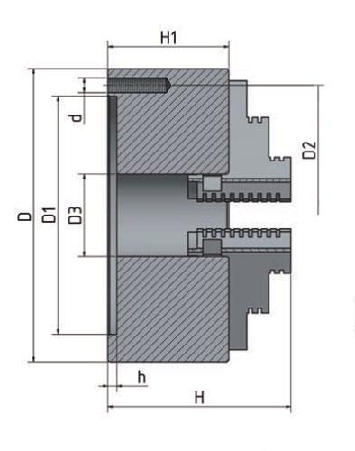 Optimum 3442812 4-čelisťové sklíčidlo 125 mm s centrickým upínáním